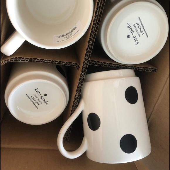 4 kate spade deco dot mugs